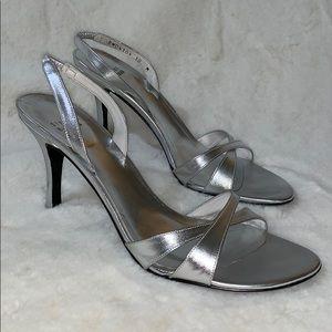Stuart Weitzman silver shiny metallic sandals heel